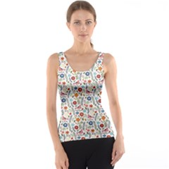 Yellow Floral Flowers Plants Pattern Tank Top