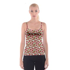 Red Pattern With Strawberries Graphic Stylized Drawing Spathetti Strap Top