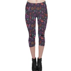 Blue Pattern Colorful Circus Magician Elephant Dancer Capri Leggings