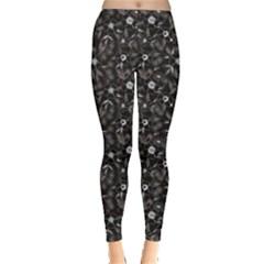 Black Abstract Flower Pattern Leggings