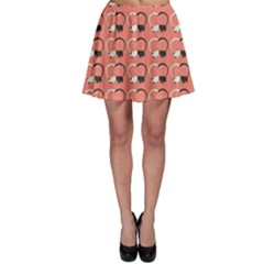 Pink Pattern Cute Cats In Love Skater Skirt