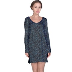 Dark Blue Circles Dark Abstract Pattern Long Sleeve Nightdress
