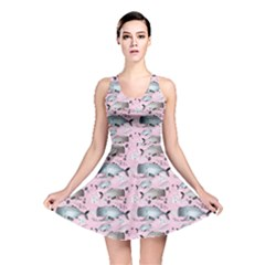 Purple Graphic Pattern Of Whales And Jellyfish On A Pink Reversible Skater Dress