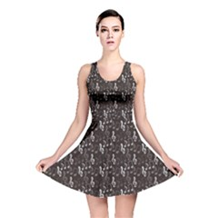 Black Pattern with Music Notes Treble Clef Reversible Skater Dress