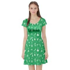 Green Cat Short Sleeve Skater Dress