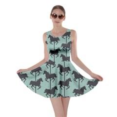 Green Carousel Horses Silhouettes Skater Dress