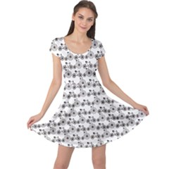 Gray Bicycles Pattern Modern And Retro Bicycles Cap Sleeve Dress