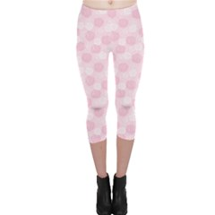 Pink Floral Pattern with Elegant Pink and White Roses Capri Leggings