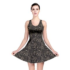 Black Halloween Pattern With Smiling Ghost Pumpkin Witch Reversible Skater Dress