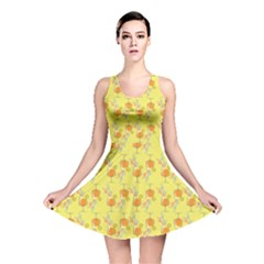 Yellow Pattern Tropical Cocktails Reversible Skater Dress