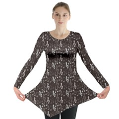 Black Pattern with Music Notes Treble Clef Long Sleeve Tunic Top