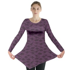 Purple A Pattern With Dinosaur Silhouettes Long Sleeve Tunic Top