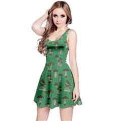 Green Mushroom Pattern Sleeveless Dress