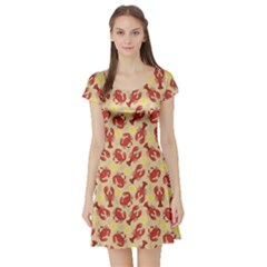Red Lobster And Crab Lemon And Dill Pattern Short Sleeve Skater Dress