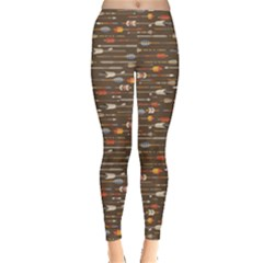 Brown Ethnic Pattern Indian Arrows in Native Style Leggings