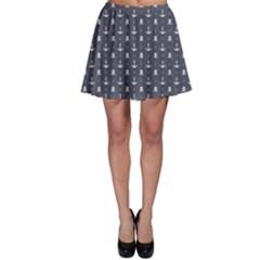 Blue Pattern Anchors and Skulls Skater Skirt