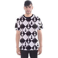 Black A ly Repeatable Glossy Chessboard Chess Pieces Men s Sport Mesh Tee