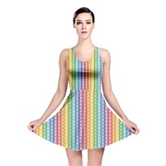Colorful Striped Rainbow Pattern With Colorful Butterflies Reversible Skater Dress