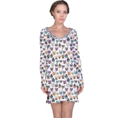 Colorful Pattern With Colored Cats Long Sleeve Nightdress