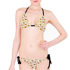 Colorful Pattern With Different Pizza And Spices Bikini Set