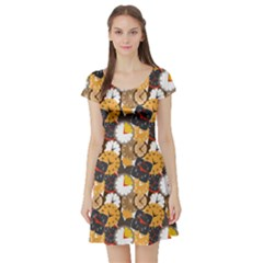 Colorful Pattern Of Different Clocks Short Sleeve Skater Dress