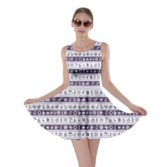 Blue Borders With Nautical And Sea Symbols Skater Dress