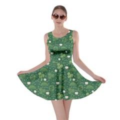 Green Hand Drawn Pattern With Celtic Elements Skater Dress