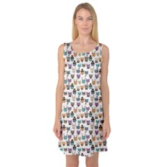 Colorful Pattern With Colored Cats Sleeveless Satin Nightdress