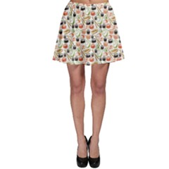 Colorful Pattern With Sushi Skater Skirt