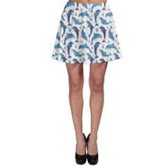 Blue Watercolor Pattern With Dolphins Skater Skirt
