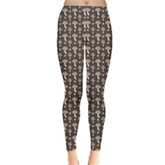Dark Of Pattern With Abstract Mushrooms And Leaves Leggings