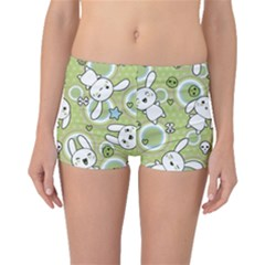 Green Pattern With Doodle Kawaii Boyleg Bikini Bottoms