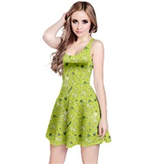 Green Microbes and Bacteria in Petri Dish Pattern Sleeveless Skater Dress