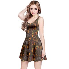 Brown African Ethnic Pattern With Stylized Sleeveless Skater Dress