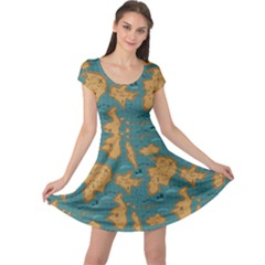 Green Adventure Map Pattern Stylish Design Cap Sleeve Dress
