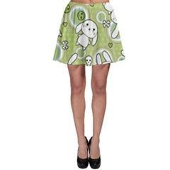 Green Pattern With Doodle Kawaii Skater Dress