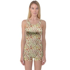 Colorful Floral Pattern With Butterflies On Beige Women s One Piece Swimsuit