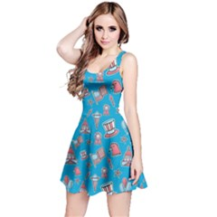 Blue Patriotic Hand Drawn Usa Pattern Short Sleeve Skater Dress