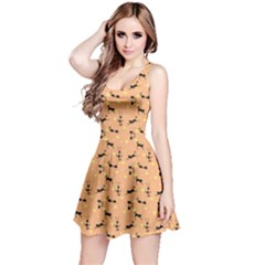 Brown Pattern With Black Cats And Hearts Short Sleeve Skater Dress