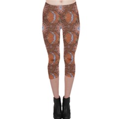 Brown Composition With Sun And Moon Capri Leggings