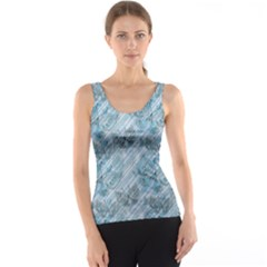 Blue Pink Diagonal Grunge Striped Translucent Pattern with Butterflies Tank Top