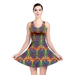 Colorful Pattern with Macaw Parrots Hand Drawn Reversible Skater Dress