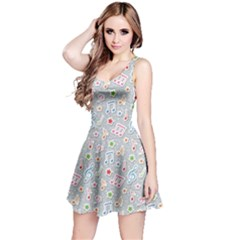 Gray Pattern With Music Notes And Stars Sleeveless Skater Dress