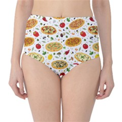 Colorful Pattern With Different Pizza And Spices High Waist Bikini Bottom