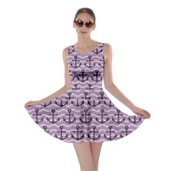Purple With Sea Anchors Stylish Design Skater Dress