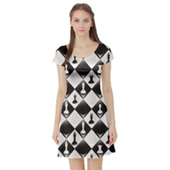 Black A Seamlessly Repeatable Glossy Chessboard With Chess Short Sleeve Skater Dress