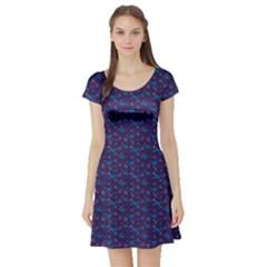 Blue Dark Blue Christmas Pattern With Blue Goats  Short Sleeve Skater Dress