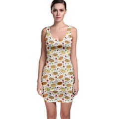 Colorful Pattern With Different Pizza And Spices Bodycon Dress
