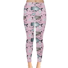 Purple Graphic Pattern Of Whales And Jellyfish On A Pink Leggings