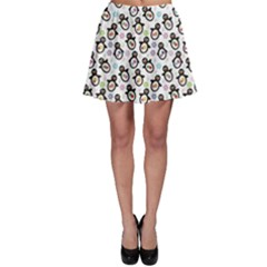 Black Pattern With Cartoon Penguins Skater Skirt